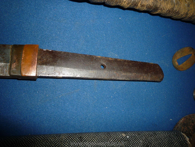 A remarkably sharp edged Samurai Sword/Katana, the blade rust marked, - Image 17 of 22