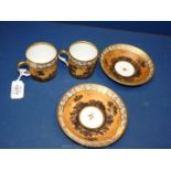 A pair of porcelain fond brun goblets litron, First Empire before 1811,