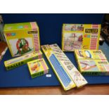 A box of assorted Faller HIT car accessories including wheel, track, loops, etc.
