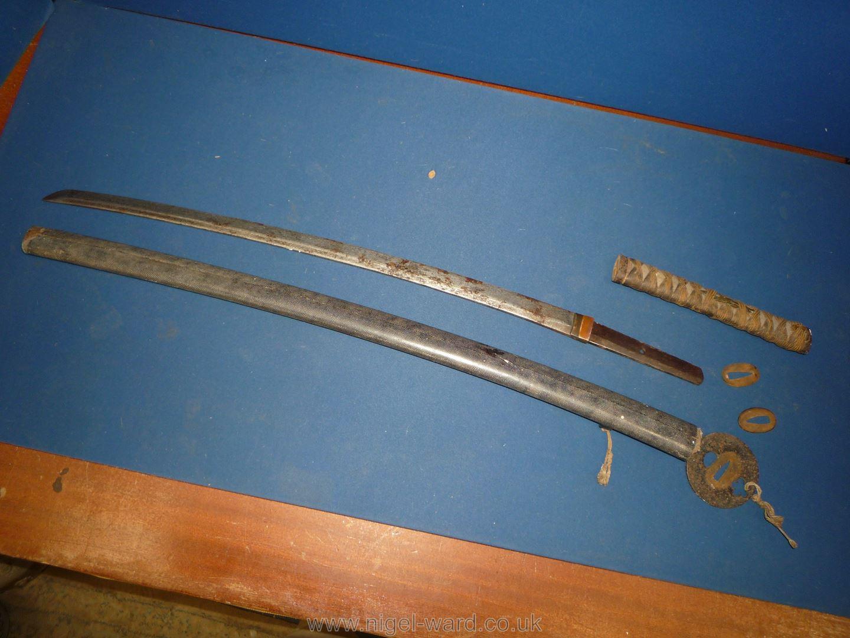 A remarkably sharp edged Samurai Sword/Katana, the blade rust marked, - Image 19 of 22