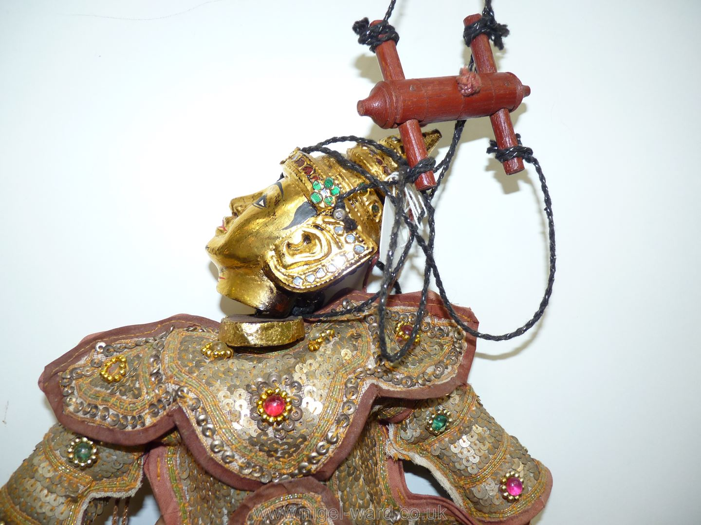 An ornate Thai Marionette richly decorated with sequins, 16 1/2'' tall approx. - Image 6 of 7