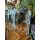An imposing cut and bevelled glass Tryptic Mirror,