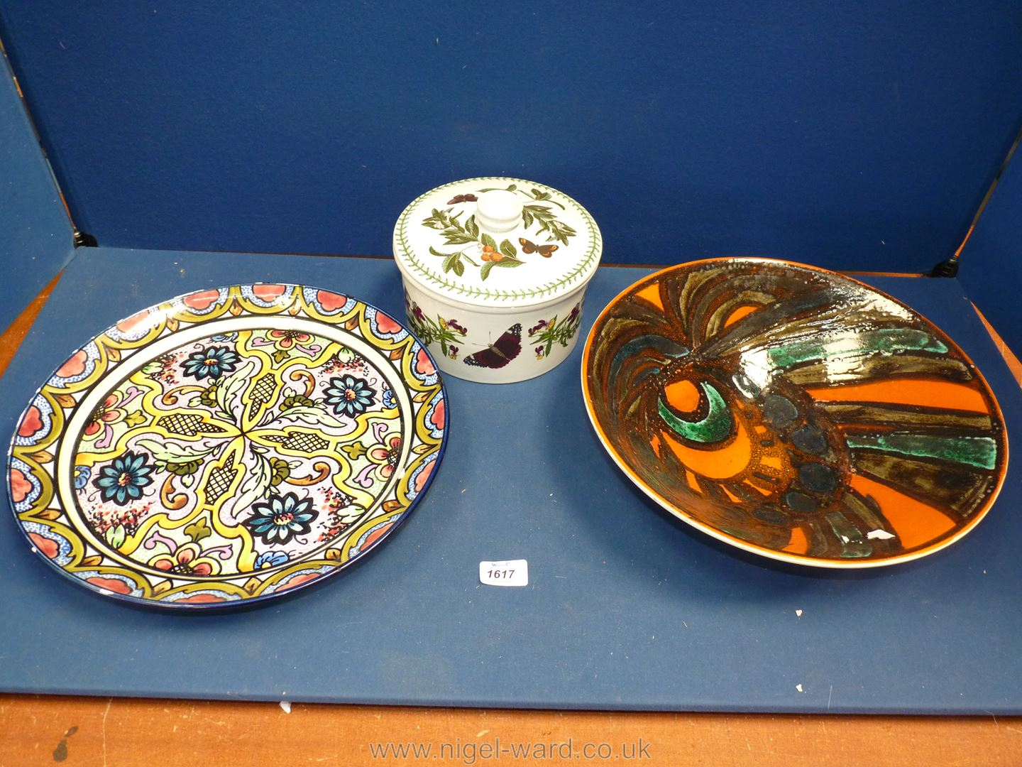 """A large multi coloured charger plus Poole Pottery bowl, 13 1/2"""" diameter,"""