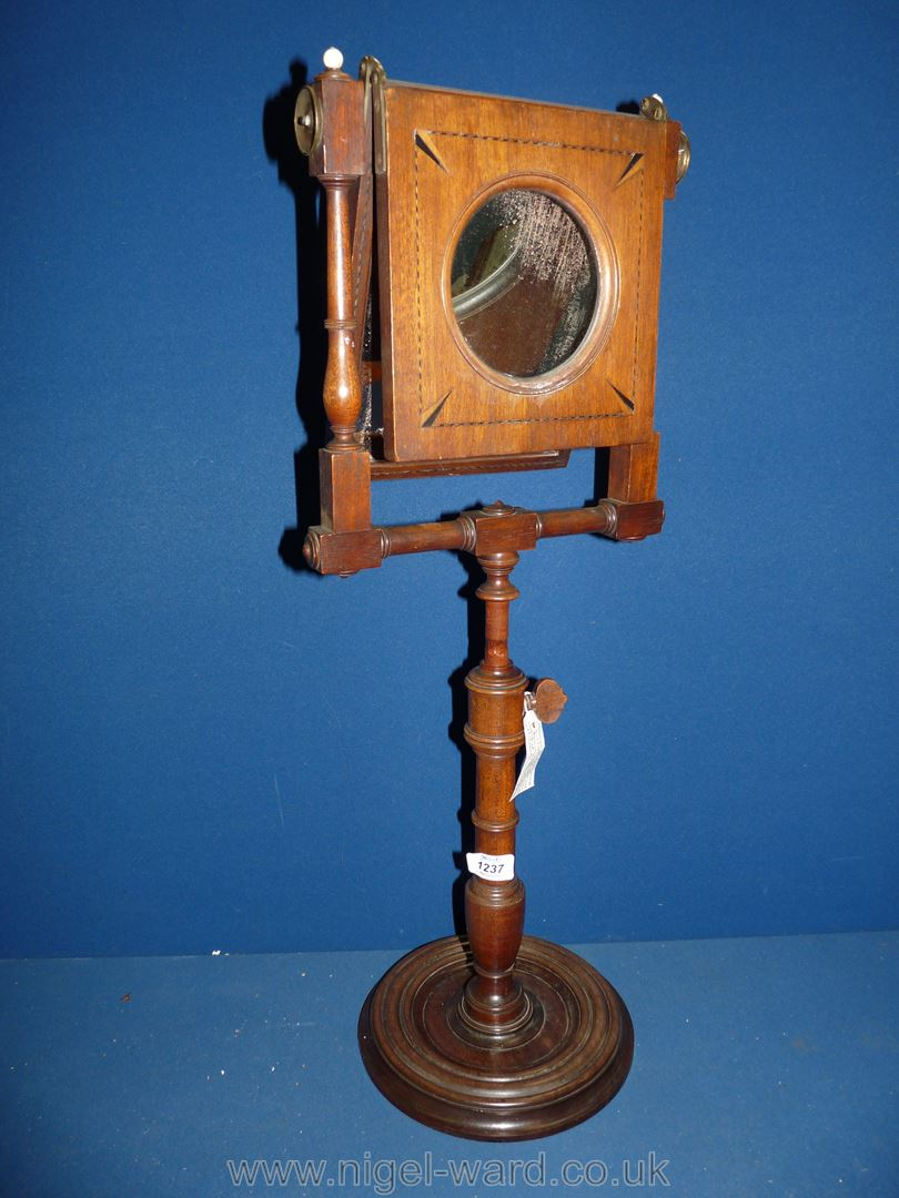 A George III Mahogany Zograscope with diced stringing to the border and fold over viewing glass, - Image 2 of 4