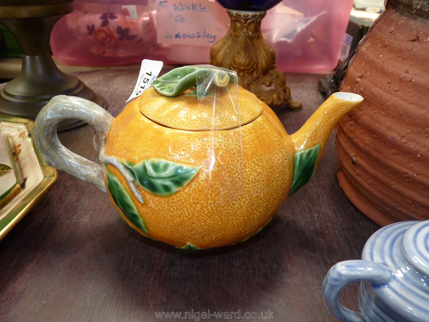 A decorative vintage Portuguese teapot in the form of an orange, - Image 2 of 2