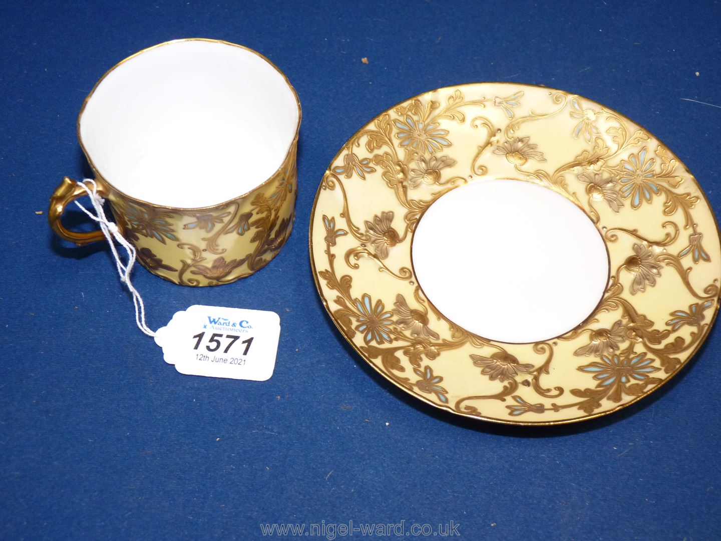 A Sevres Louis Philippe cup and saucer decorated with flowers in raised gold impasto highlighted in - Image 2 of 4