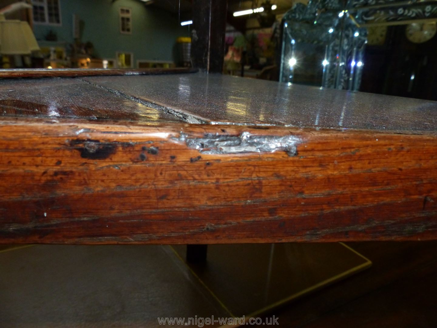 A Georgian Oak peg-joined Cricket Table standing on three tapering legs united by a triangular - Image 9 of 10