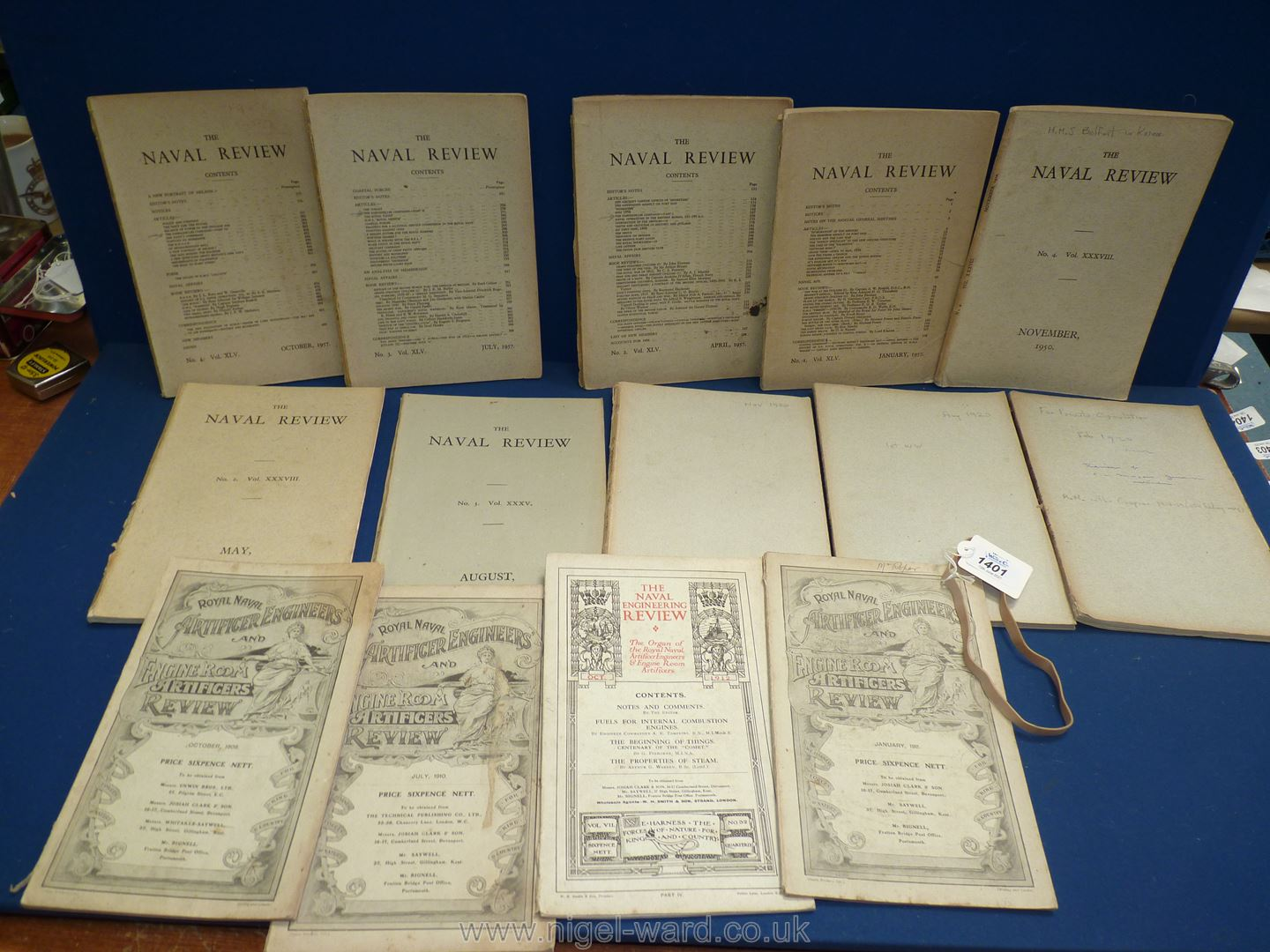 Ten quarterly issues of The Naval Review, for private circulation, ten between 1920 and 1957,