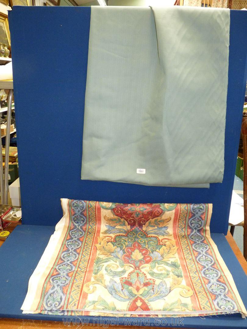 """A pale blue cotton fabric, 88"""" long,"""