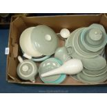 A Poole part dinner and part teaset in duck egg blue, consisting of two tureens, one lidded,