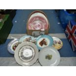 A quantity of plates including Coalport and Wedgwood display plates, etc.