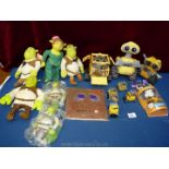 Two trays of film merchandise figures including Shrek & Fiona and Wall E.