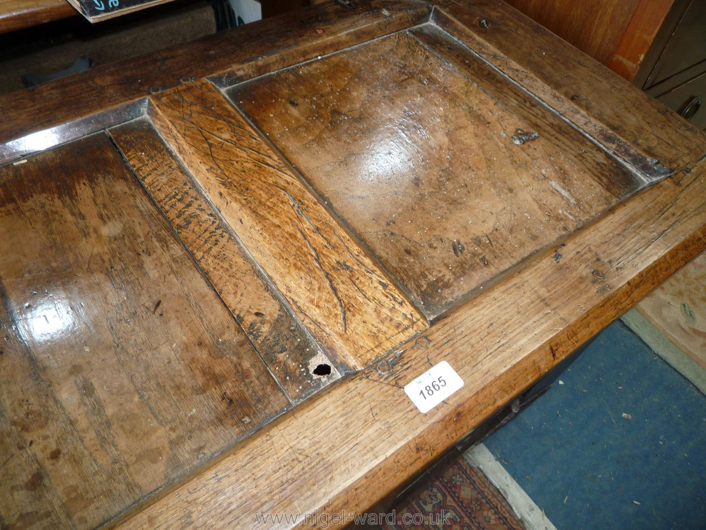 A delightfully plain peg-joined Oak three panel Coffer with scratch-moulded details and old metal - Image 3 of 4