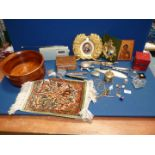 A quantity of miscellanea including a small prayer mat decorated with the 'tree of life',