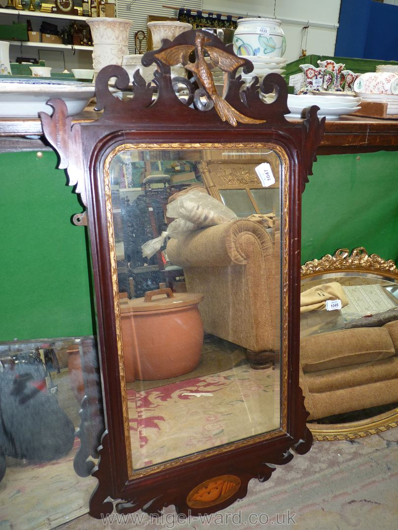 A dark wood framed rectangular bevel plate wall Mirror with gilt painted detail,