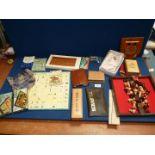 A quantity of miscellanea including travel board games, chess board, dominoes,