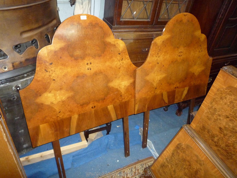 A pair of mirrored veneered 3' single Bed Headboards.