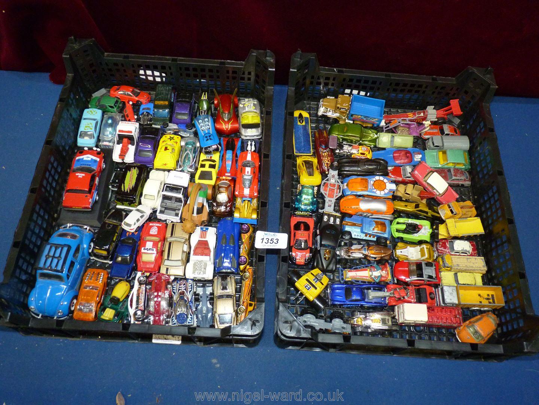 Two trays of mixed vintage toy cars including Corgi, Lesney etc. - Image 2 of 2