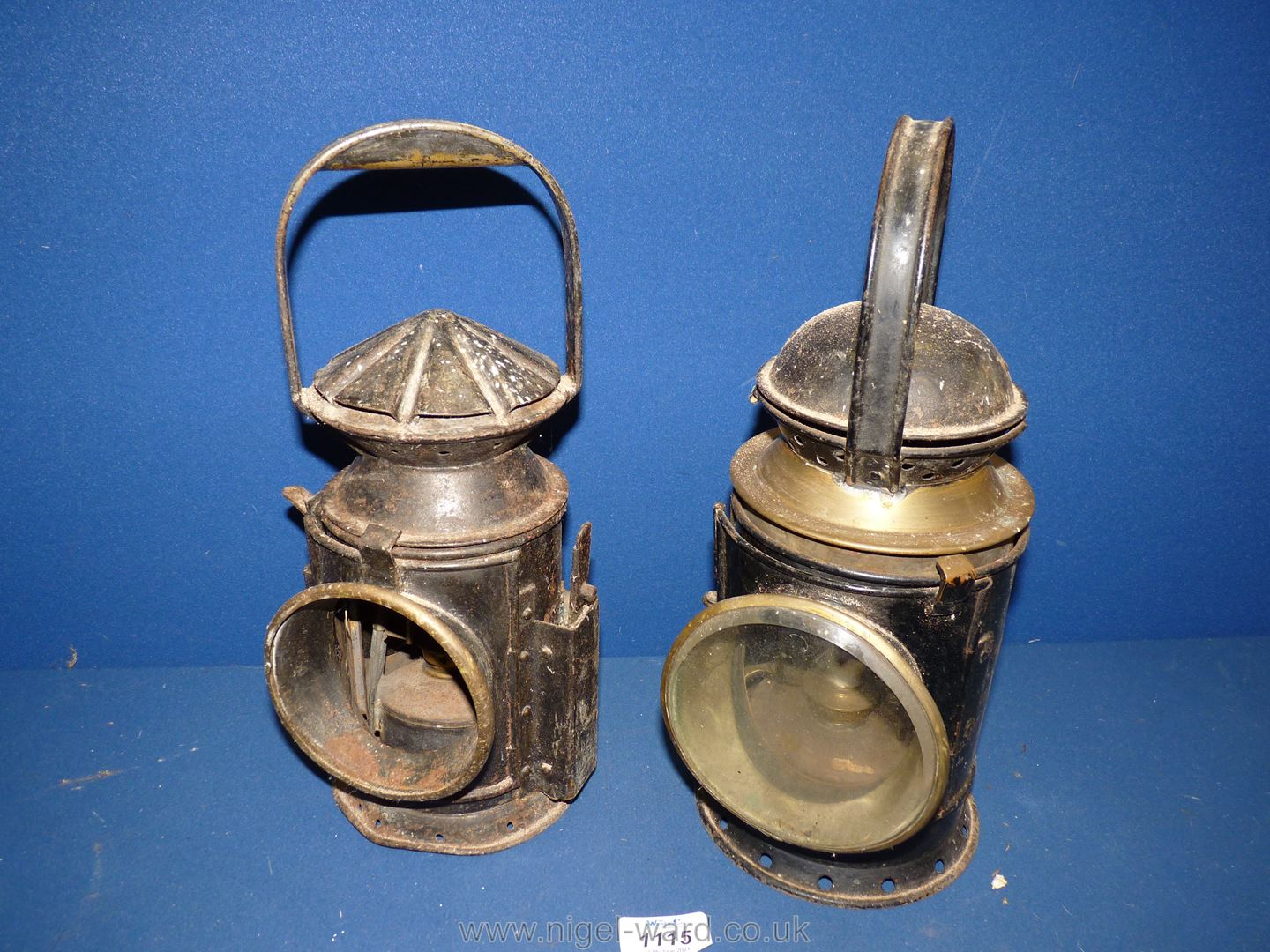Two Railway lamps, a/f.