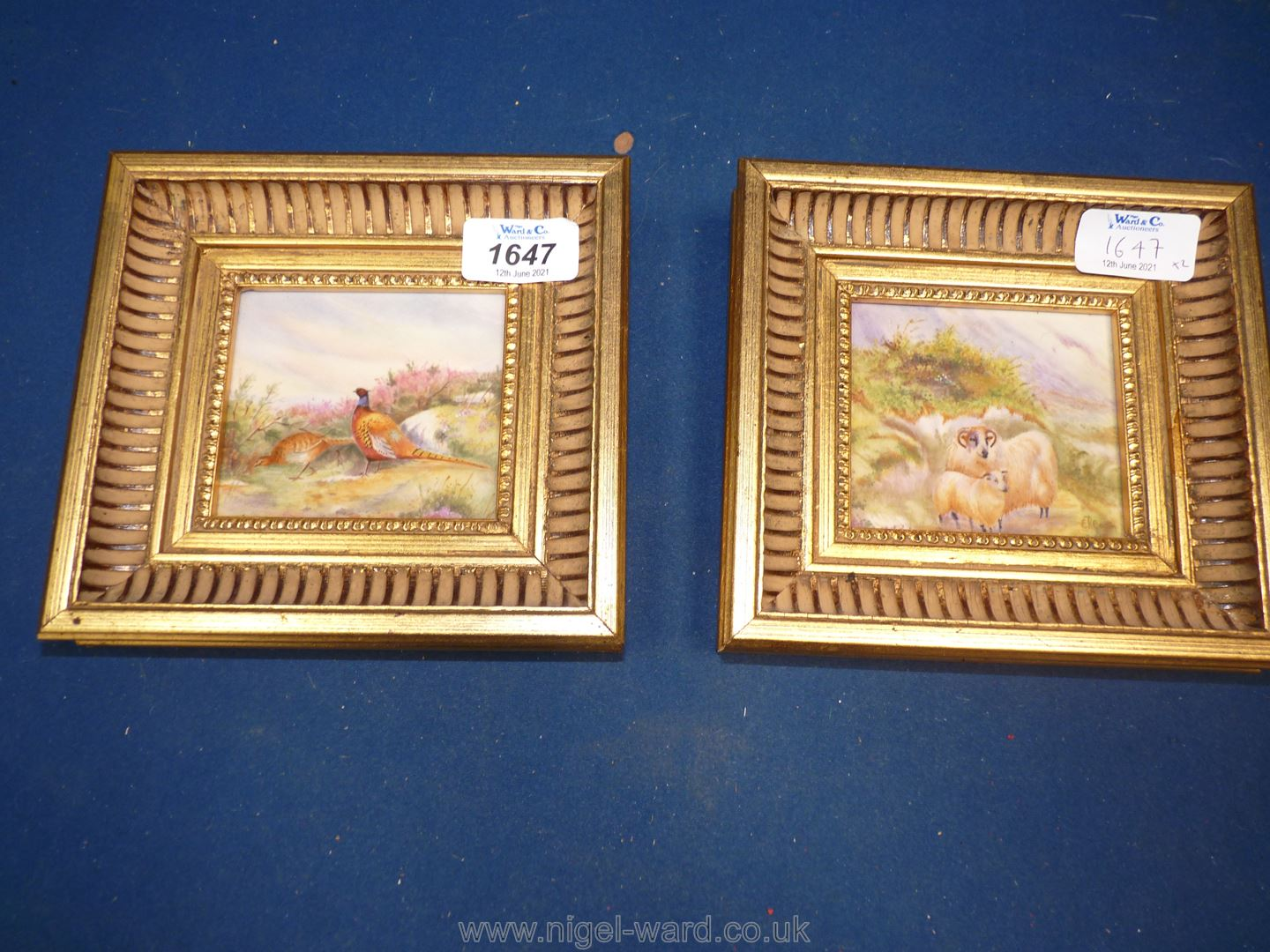 Two gilt framed ceramic painted Plaques, signed E.