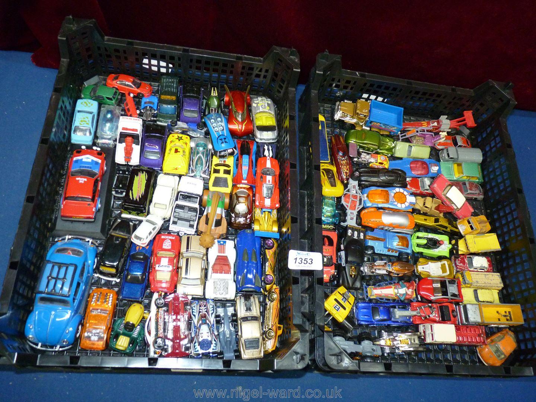 Two trays of mixed vintage toy cars including Corgi, Lesney etc.