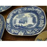 A blue and white Meat Plate, 14'' x 11''.