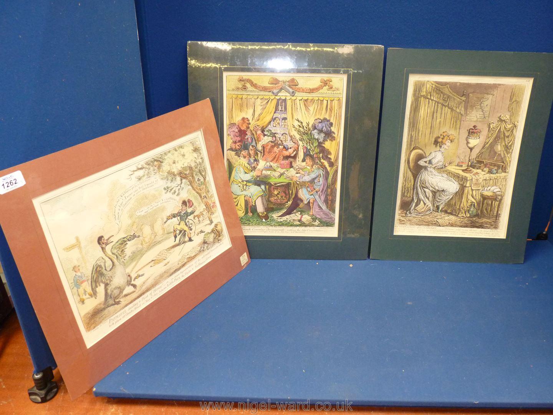 Three James Gillray Henry Bohn restrike (1847-51) engravings,