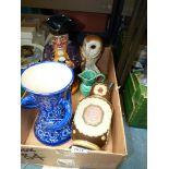 A large Shorter Toby jug, three handled vase, china owl etc.