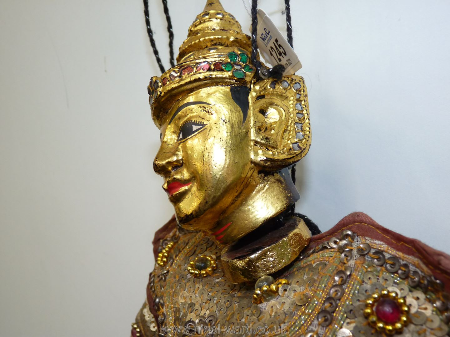 An ornate Thai Marionette richly decorated with sequins, 16 1/2'' tall approx. - Image 3 of 7