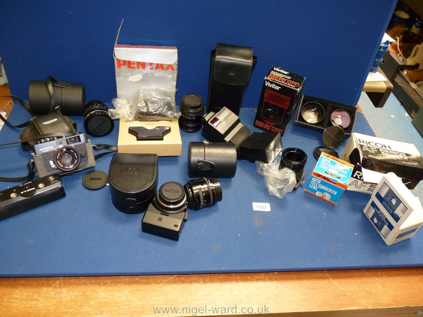 A quantity of Camera equipment including Konica Auto S3 with Hexanon 38mm f/1.