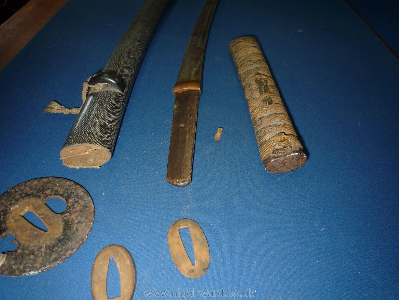 A remarkably sharp edged Samurai Sword/Katana, the blade rust marked, - Image 13 of 22