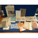 A quantity of miscellanea including old scrap books with newspaper cuttings and hand annotated