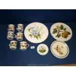 Six coffee cans (no saucers), Portmeirion Botanical Garden pattern together with two cake plates,