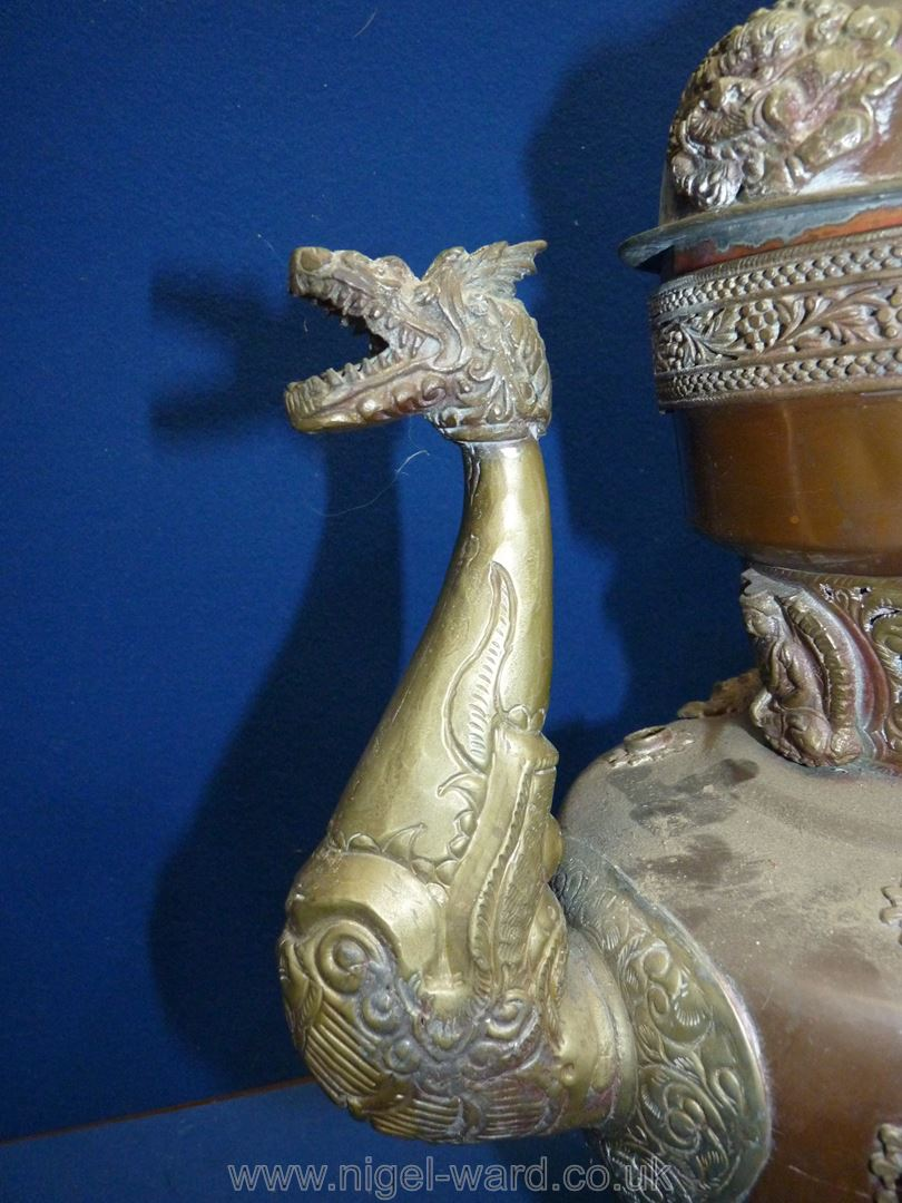 A Tibetan copper and brass ceremonial Dragon ewer with dragon handles and spout, - Image 4 of 9