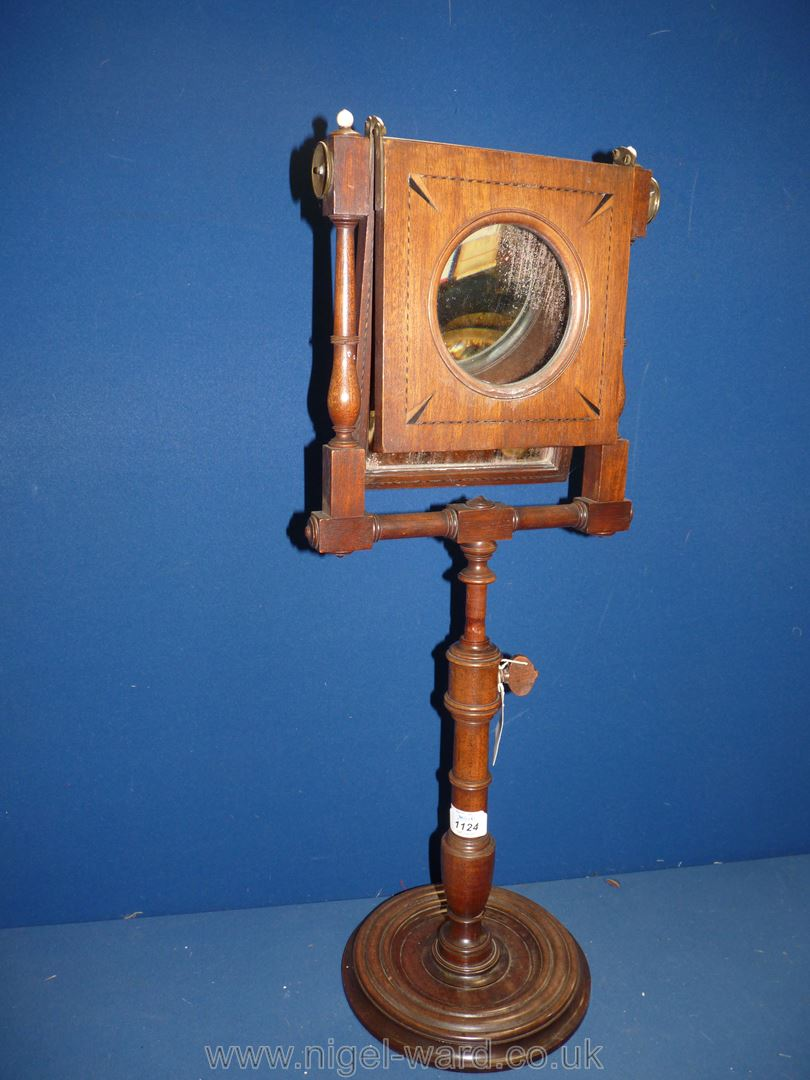 A George III Mahogany Zograscope with diced stringing to the border and fold over viewing glass, - Image 3 of 4