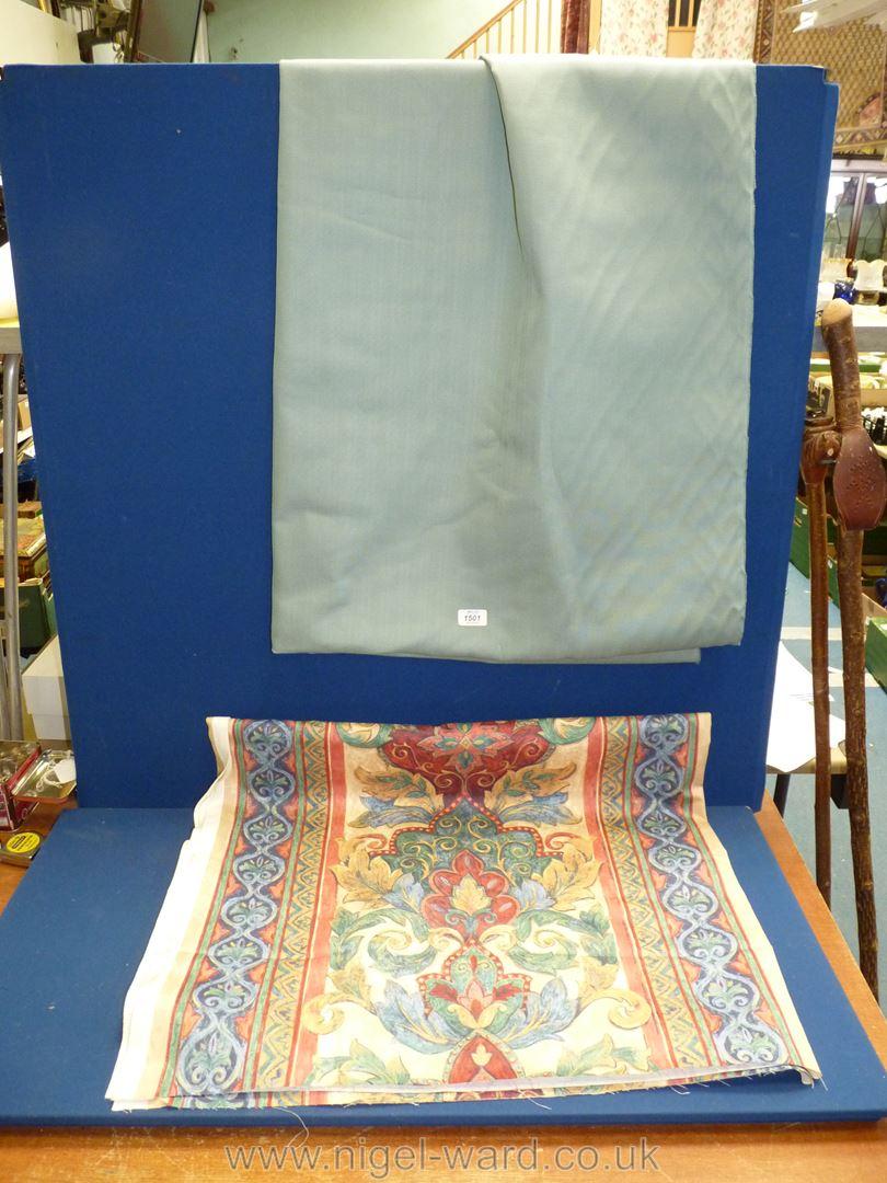 "A pale blue cotton fabric, 88"" long, - Image 2 of 3"