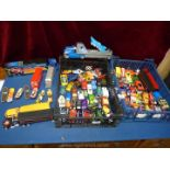 Two trays of mainly modern toy cars and buses etc.