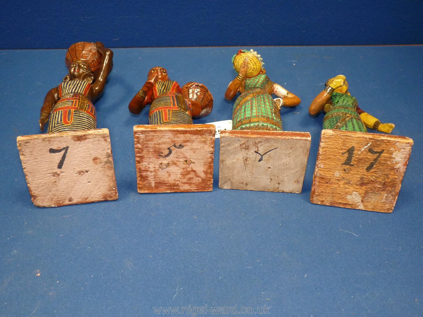 A set of four Indian carved and painted wood figures of lady market traders, circa 1900, - Image 3 of 3