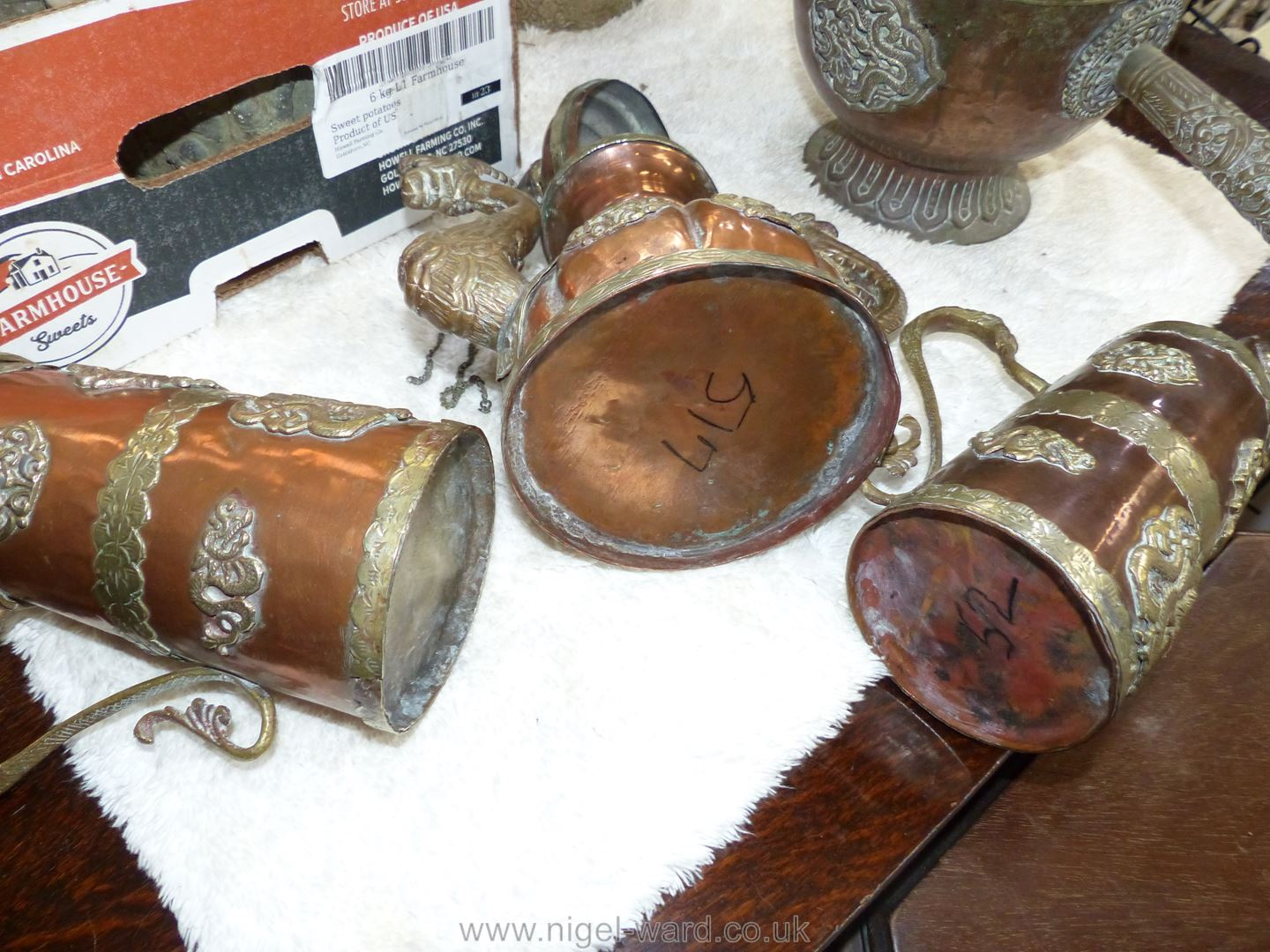 A small copper and brass ceremonial Dragon teapot with lid on chain, - Image 7 of 7