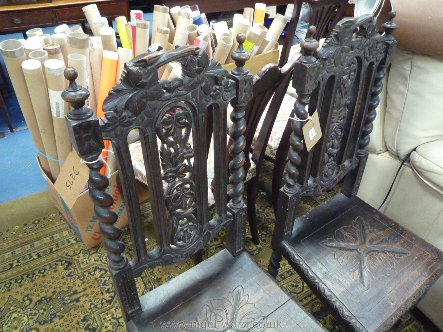 A pair of dark Oak hall/Side Chairs of early design with carved solid seats, twist legs, - Image 2 of 4