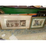 Two framed Papyrus pictures of Egyptian scenes, image sizes 17'' x 13'' and 31'' x 13 1/2''.