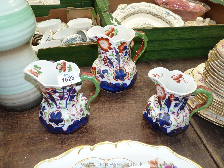 Three Allertons Gaudy jugs.