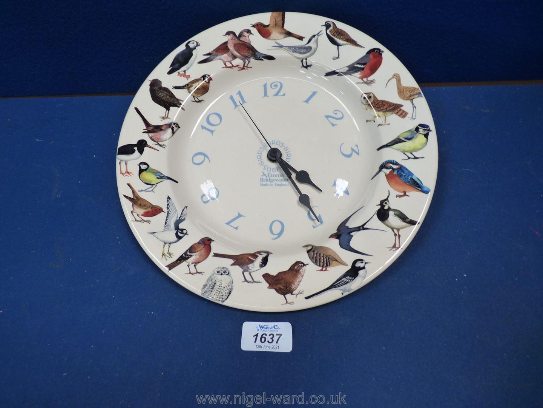 An Emma Bridgewater bird plate wall clock.