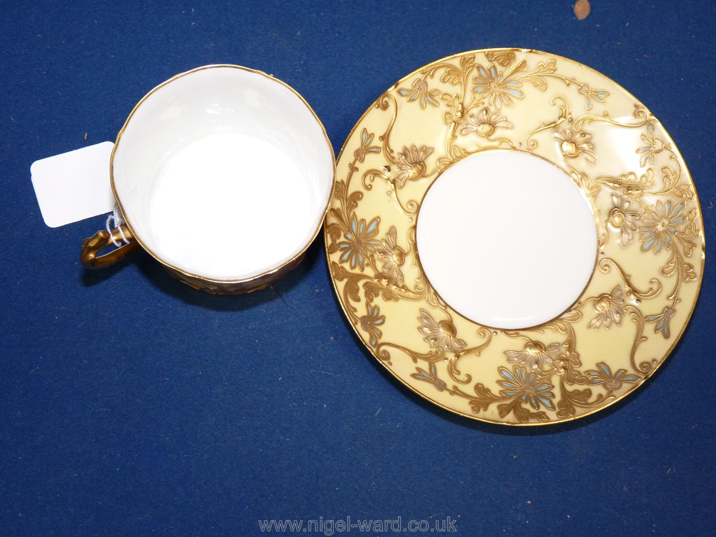 A Sevres Louis Philippe cup and saucer decorated with flowers in raised gold impasto highlighted in - Image 4 of 4