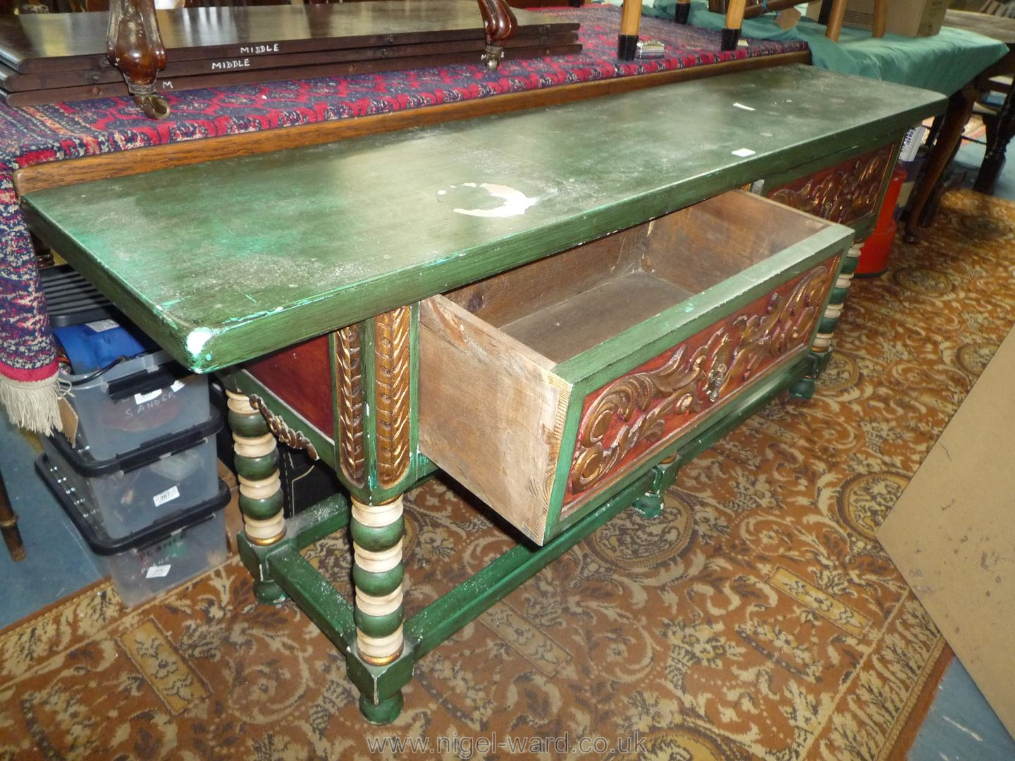 A carved and painted Continental dresser Base standing on turned legs with perimeter stretchers and - Image 3 of 4