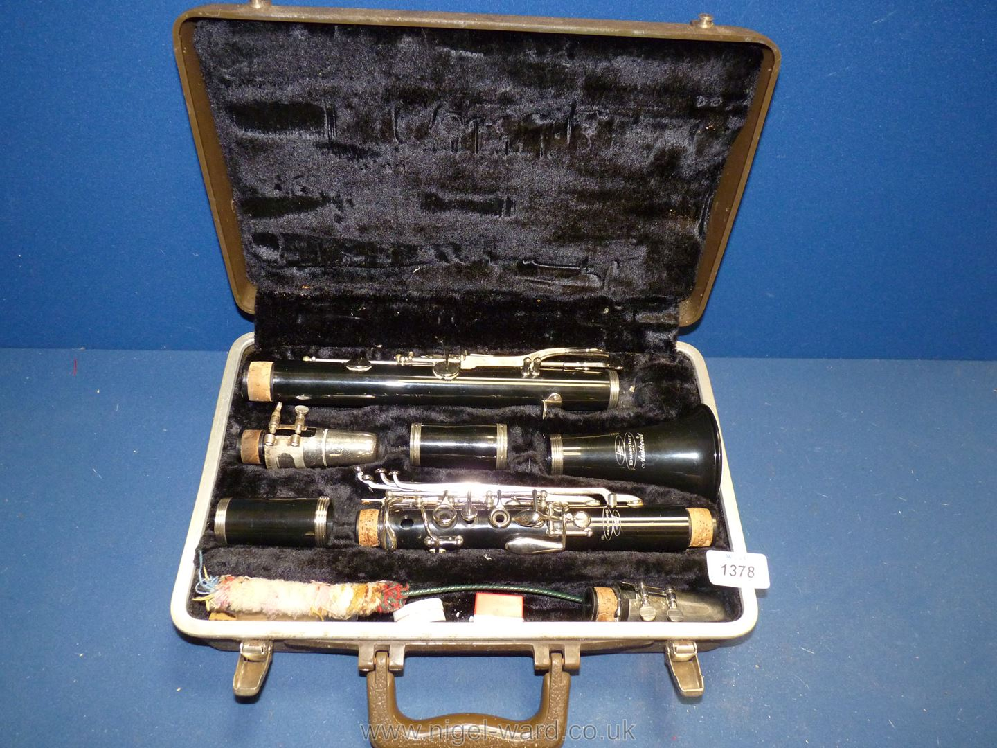 A cased Buescher Aristocrat Clarinet having two mouth pieces, with cleaning rod and reeds. - Image 2 of 2