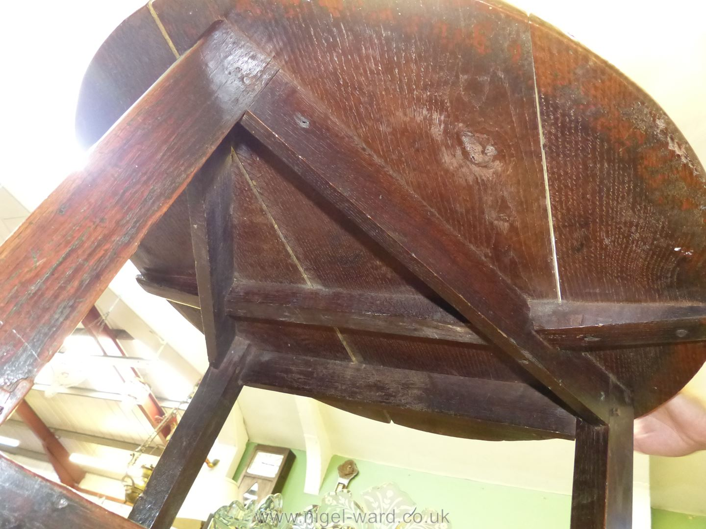 A Georgian Oak peg-joined Cricket Table standing on three tapering legs united by a triangular - Image 6 of 10