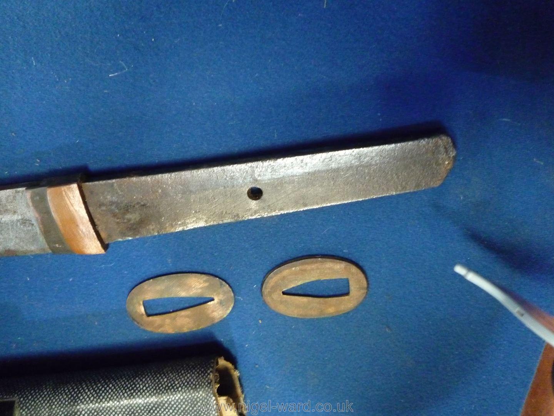 A remarkably sharp edged Samurai Sword/Katana, the blade rust marked, - Image 8 of 22