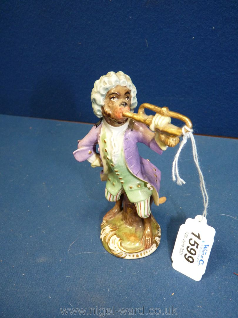 A 19th c. Vienna porcelain 'Monkey band' figurine after the 18th c. - Image 2 of 4