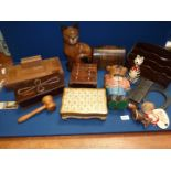 A quantity of Treen including desk tidy, veneered domed tea caddy, miniature chest of drawers,